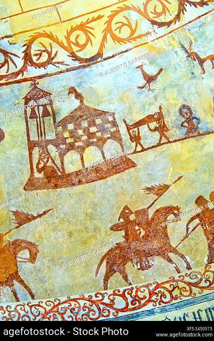 Middle Age Paints, Church of Nuestra Señora de la Asunción, 13th Century Romanesque Style, Alaiza, Iruraiz-Gauna, Ã. lava, Basque Country, Spain, Europe