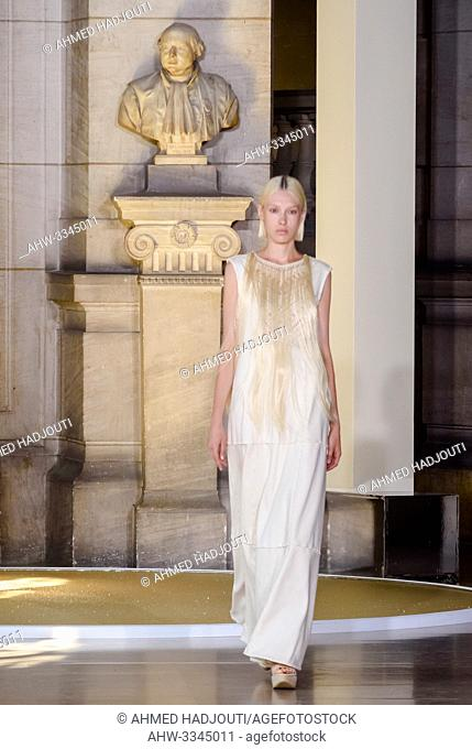 PARIS, FRANCE - June 30 : A model walks the runway during the Yuima Nakazato Show during the Paris Fashion Week Haute Couture Fall Winter 2019/2020 on June 30