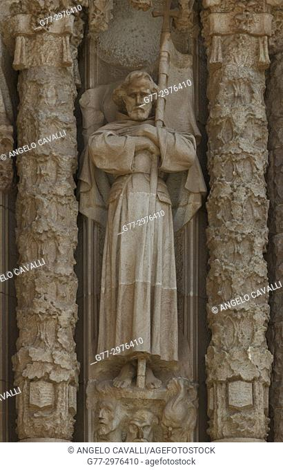 Spain. Barcelona. Tibidabo. Temple Expiatori del Sagrat Cor, church, sculpture