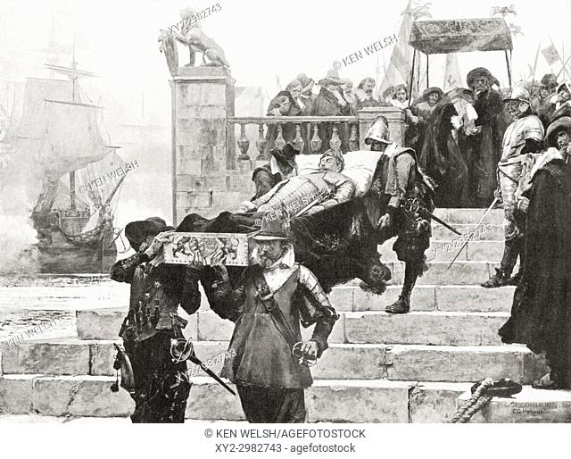 Conveying the body of Gustavus Adolphus to the ship at Wolgast for transfer to Sweden after his death at The Battle of Lützen, November 6, 1632
