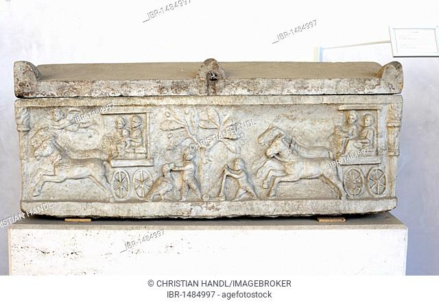 Sarcophagus with depiction of a carriage in the Terme Museum, National Museum of Rome, Lazio, Italy, Europe