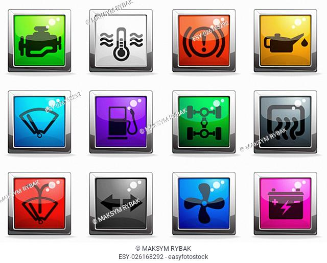 Car interface icons set for web sites and user interface