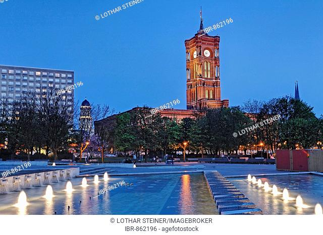 Rotes Rathaus, Red Town Hall on Alexanderplatz Square, Berlin, Germany, Europe