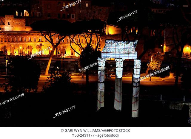 Light show at the Caesar's Forum archaeological site with Temple of Venus Genetrix in Rome Italy