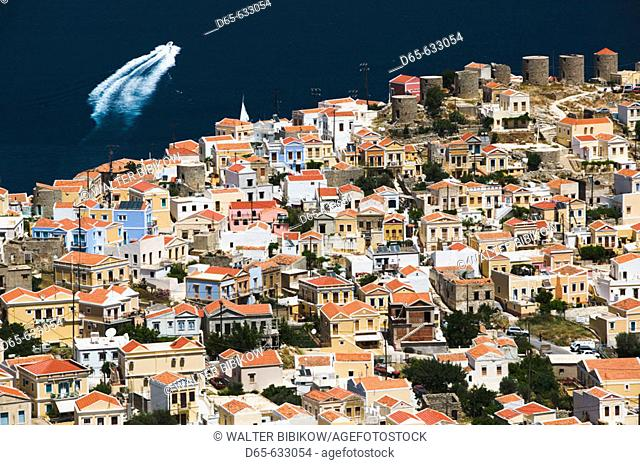 View of Horio (Upper Town). Symi Town/Horio. Symi. Dodecanese, Greece
