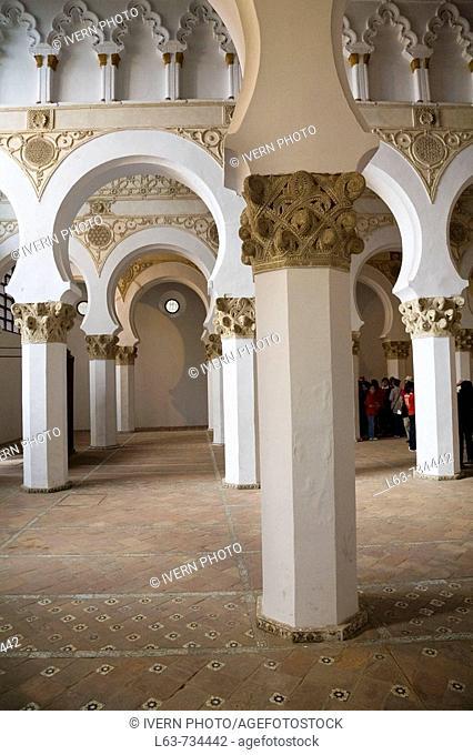 Synagogue of Santa Maria la Blanca (mudejar style, built in the 12th century), Toledo. Castilla-La Mancha, Spain