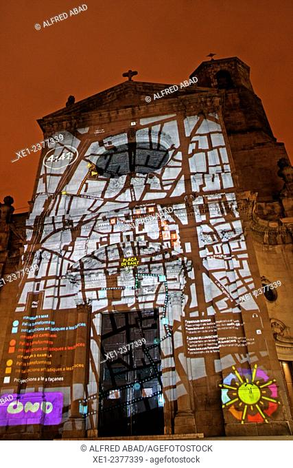 Light art installation, Llum BCN 2015, Basilica of the Merce, Barcelona, Catalonia, Spain