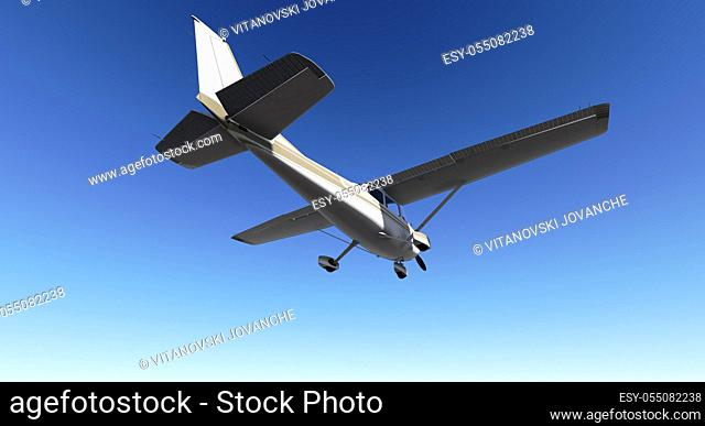White passenger plane flying in the blue sky made in 3d software