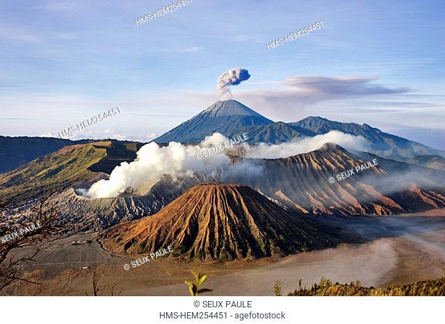 Indonesia, Java, Bromo volcano and Semeru volcano explosion in the background