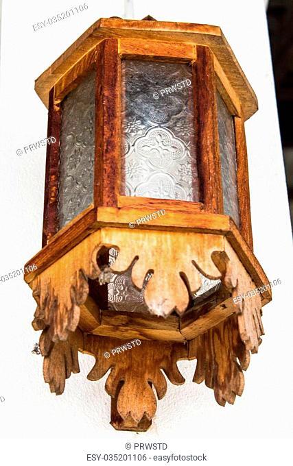 Wood Lantern on wall Home Ground