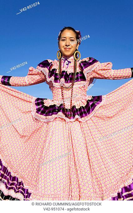 Folkloric Dancer, Tucson Rodeo Parade, Tucson, Arizona,USA