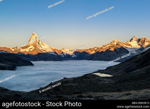 Matterhorn with clouds at sunrise, Switzerland