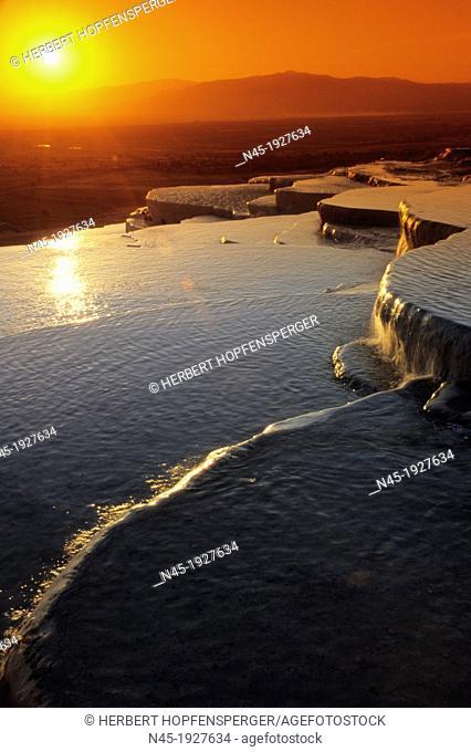 Pamukkale; Terrace Pools; Sunset; UNESCO World Heritage Site; Turkey