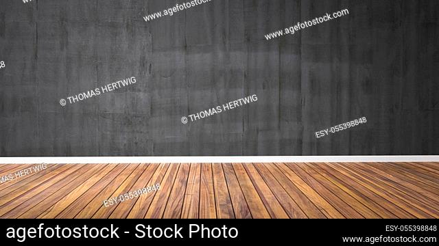 Room with concrete black wall and wooden floor - 3D Illustration