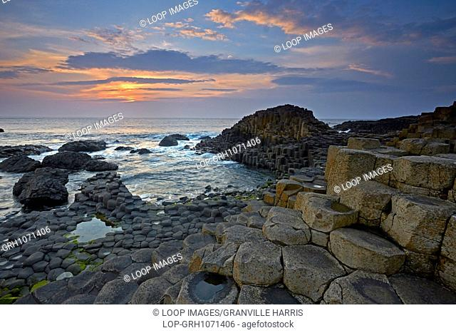 The Giant's Causeway at sunset