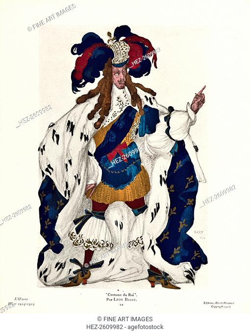 King. Costume design for the ballet Sleeping Beauty by P. Tchaikovsky, 1921. Artist: Bakst, Léon (1866-1924)