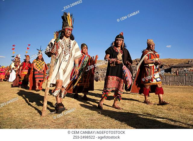 Indigenous people with traditional costumes at the Inti Raymi Festival at Saqsaywaman, Cuzco, Peru, South America
