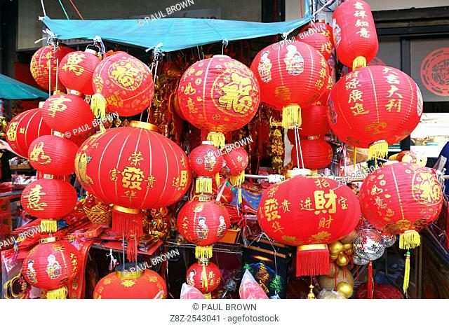 Chinese New Year lantern souvenirs on sale in the street in Chinatown, Bangkok, Thailand