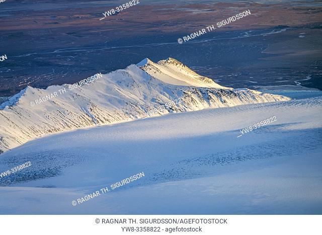 Glacial landscapes, Breidamerkurjokull, Vatnajokull Ice Cap, Vatnajokull National Park, Iceland