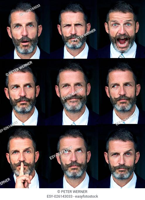 multiple face expressions of a handsome businessman with beard