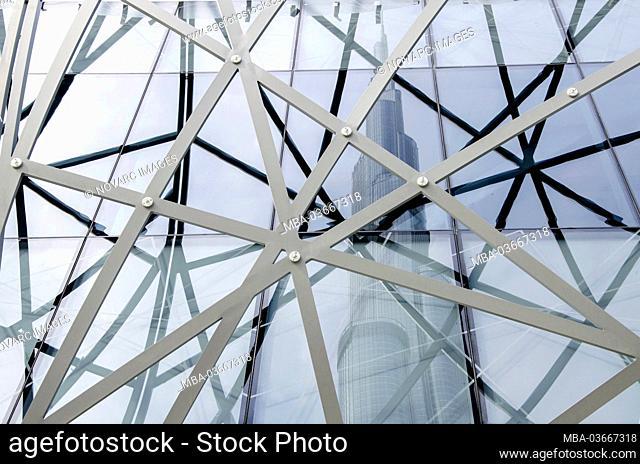 Reflection of the Burj Khalifa, Dubai, United Arab Emirates