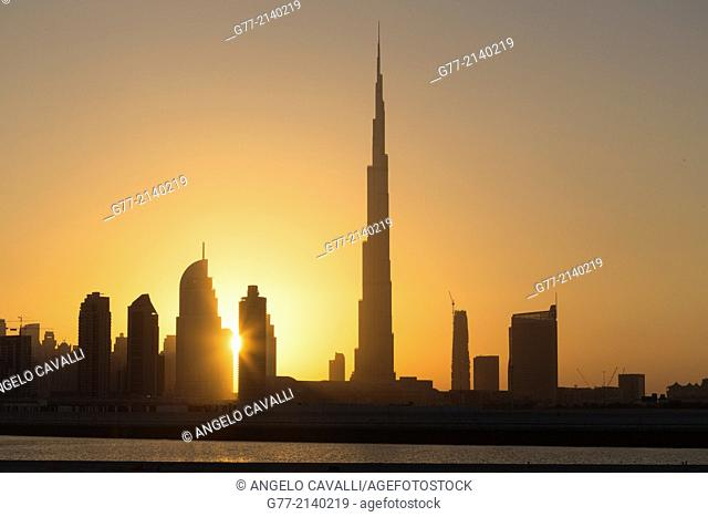 Dubai Skyline with Burj Khalifa Tower, Dubai, United Arab Emirates (UAE)