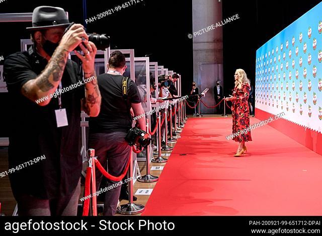 "20 September 2020, Berlin: Barbara Schöneberger stands on the red carpet at the """"kinder Tag 2019"""" in Radialsystem V. On the occasion of World Children's Day"