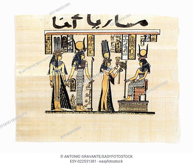 Egyptian papyrus showing Nefertari and Isis. Copy of a painting from Nefertaris tomb in Thebes
