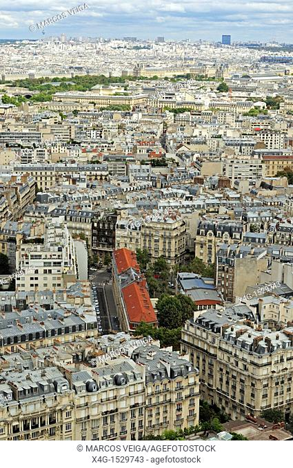 Paris cityscape as seen from the Eiffel Tower's second floor  France