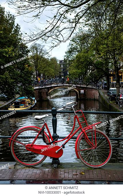 Dutch bike and canal, Amsterdam, Holland, Netherlands