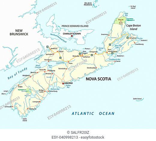 Nova Scotia road vector map, Canada