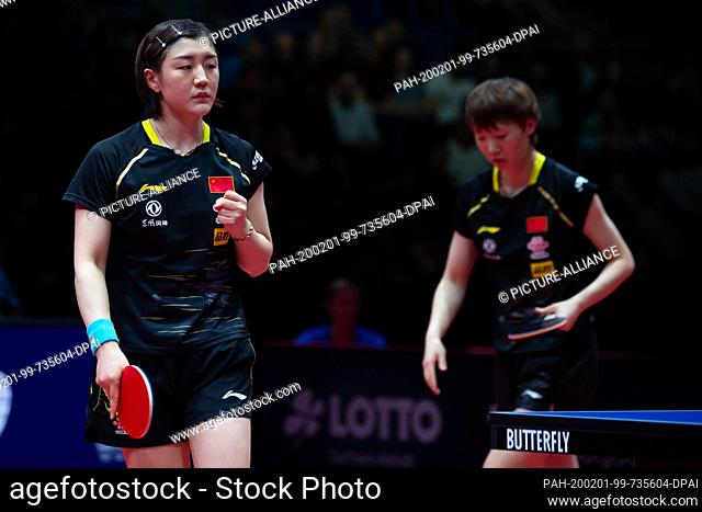 01 February 2020, Saxony-Anhalt, Magdeburg: Table tennis: German Open, women, doubles, final, Chen/Wang (China) - Hirano/Ishikawa (Japan)
