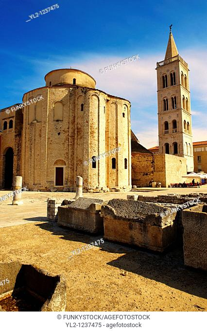 Pre-Romanesque Byzantine St Donat's Church & campanile bell tower of the St Anastasia Cathedral, Zadar, Croatia