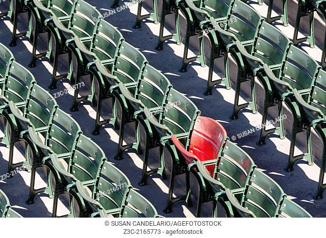 The lone red seat in the right field bleachers (Section 42, Row 37, Seat 21) signifies the longest home run ever hit at Fenway