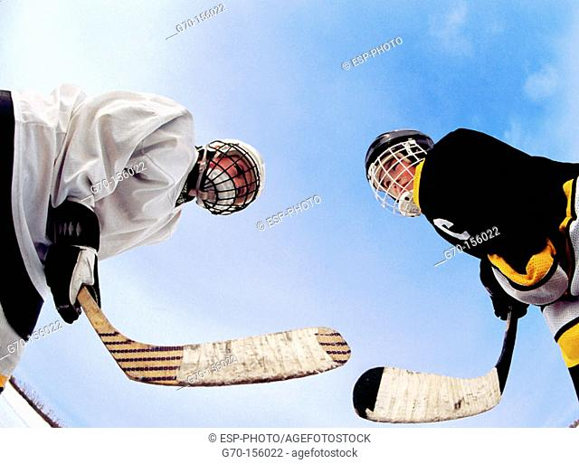 Hockey players in face off