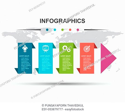 Infographic design template with step arrow, stock vector