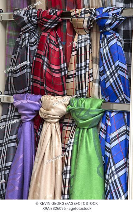 Silk Scarves on Clothing Shop; Royal Mile Street, Edinburgh; Scotland