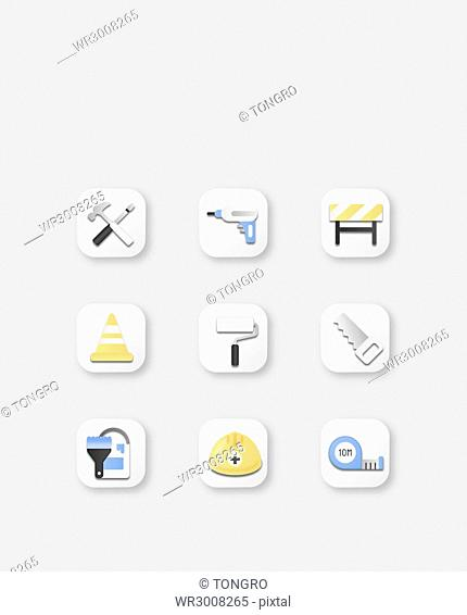 Icon set of various tools