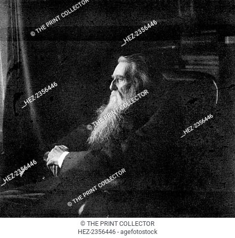John Ruskin, British artist, author, critic and social thinker, 1900. A photograph from The Magazine of Art, Cassell and Company, Limited, 1900