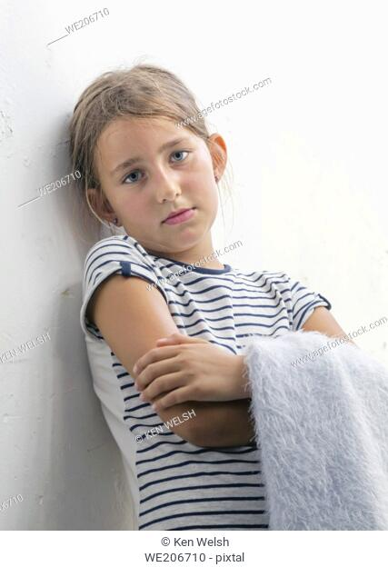 Wistful 8 year old girl
