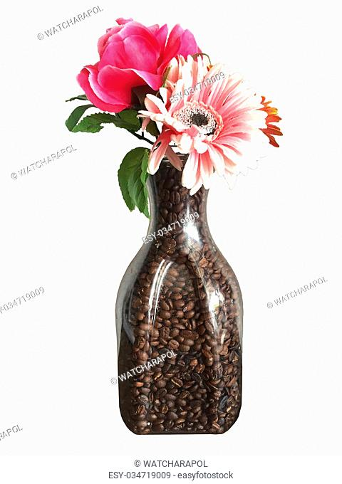 flower vase filled with coffee beans