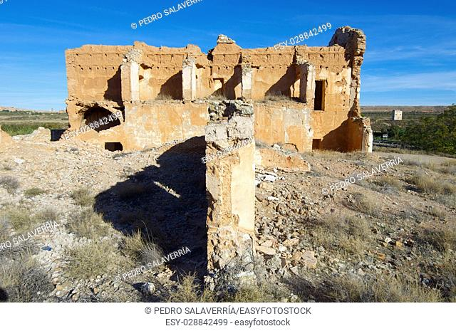 Belchite village destroyed in a bombing during the Spanish Civil War, Saragossa, Aragon, Spain
