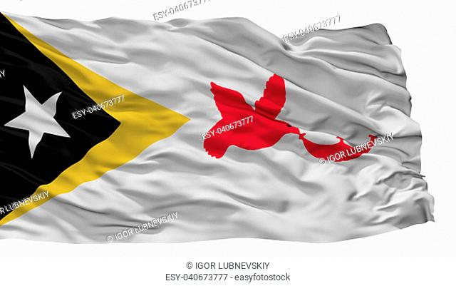 Baucau City Flag, Country East Timor, Isolated On White Background