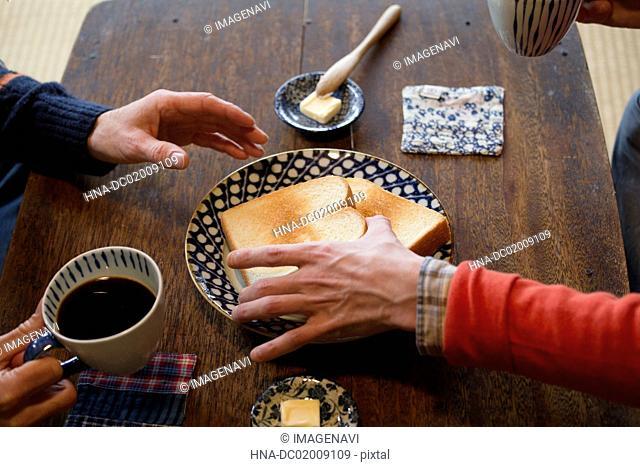 Breakfast in old Japanese house