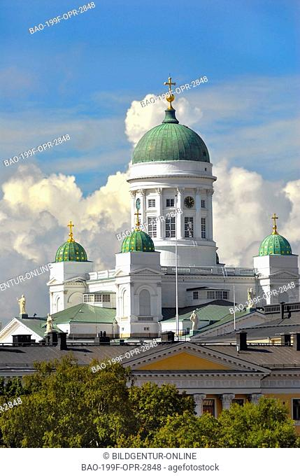 This stock photo shows the Dom of Helsinki in the city centre of Helsinki in Finland