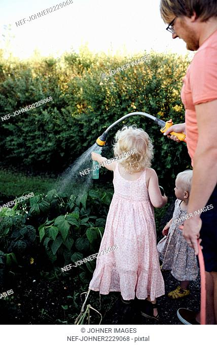 Father with daughters watering vegetables