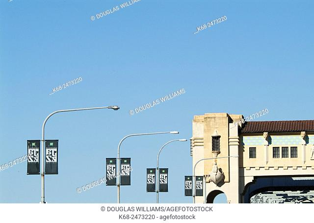banners for the Vancouver Jazz festival on the Burrard Bridge in Vancouver, BC, Canada