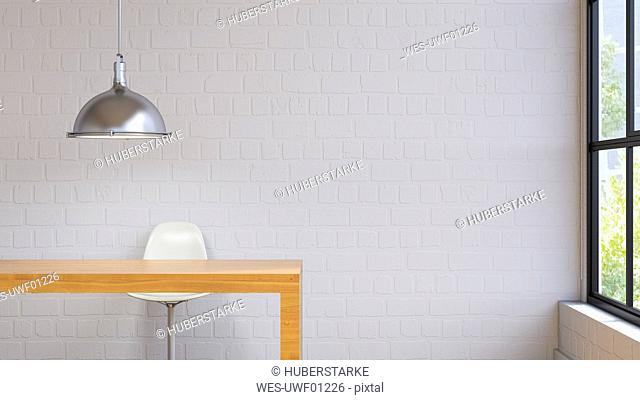 Room with lamp, table and chair, 3d rendering