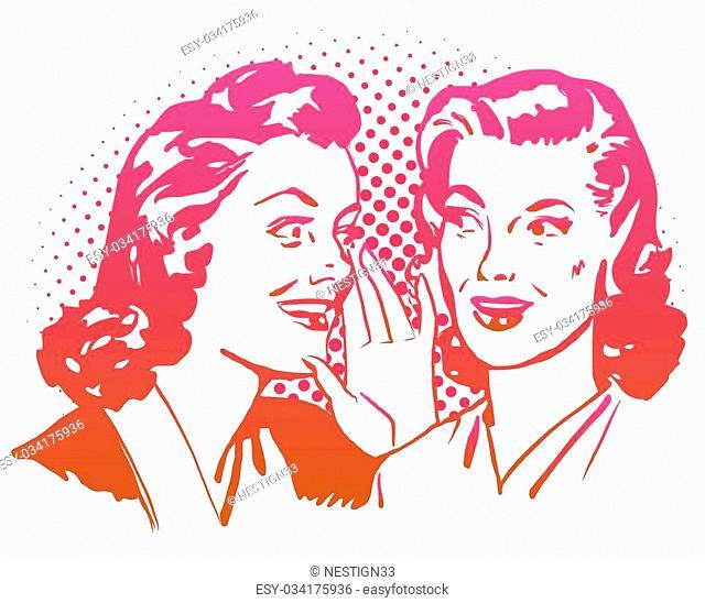 Vintage Gossip Girls Artwork. Hand Drawn Vector Sketch