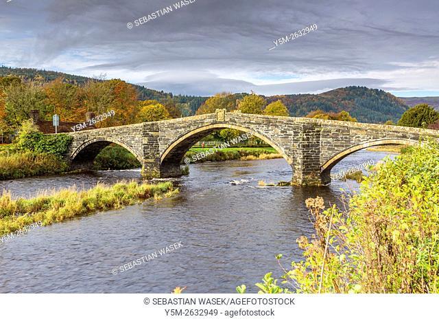 Pont Fawr a 17th century stone bridge over the River Conwy at Llanrwst, Conwy, Wales, United Kingdom, Europe